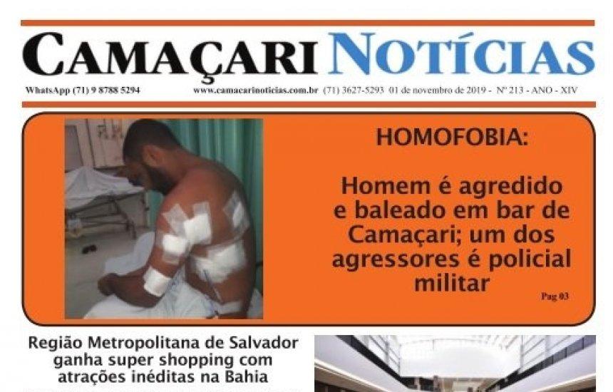 [Edição 213 do jornal impresso Camaçari Notícias destaca crime de homofobia]
