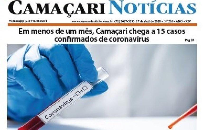 [Edição 216 do jornal impresso Camaçari Notícias destaca pandemia da Covid-19]