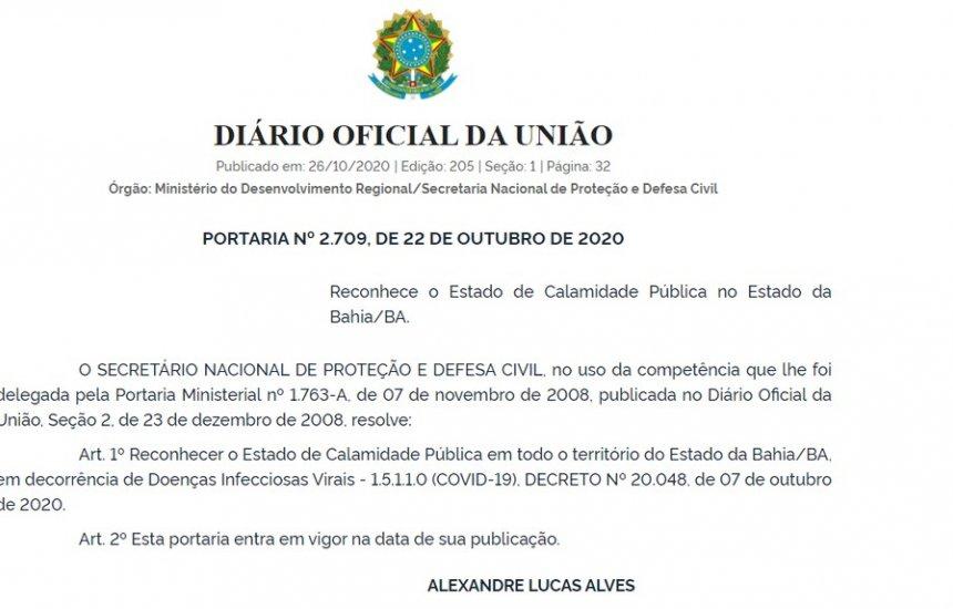 [União reconhece decreto de calamidade pública da Bahia por causa da Covid-19]