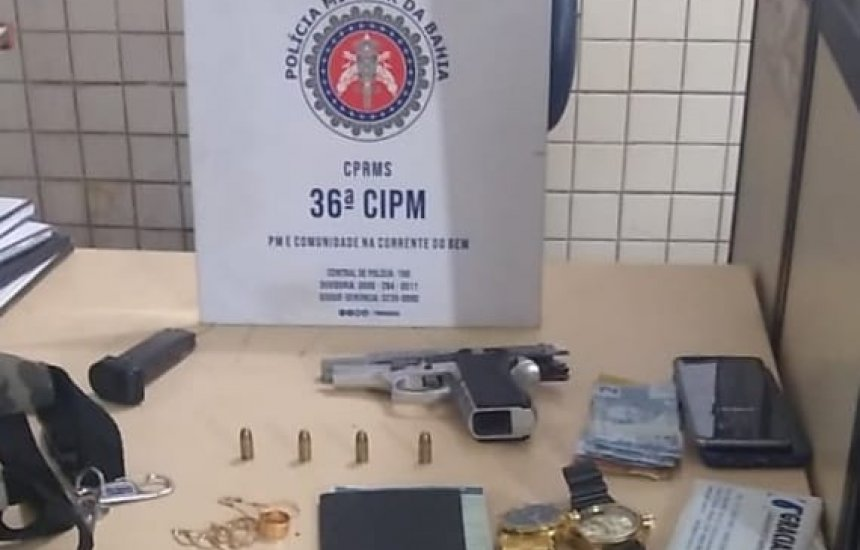[Policiais da 36ª CIPM prendem homem e apreende menor com pistola em Dias d'Ávila]
